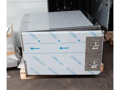 1000x970x600 lxbxh RVS 1,5mm spiegel met rvs plank links scharnierend